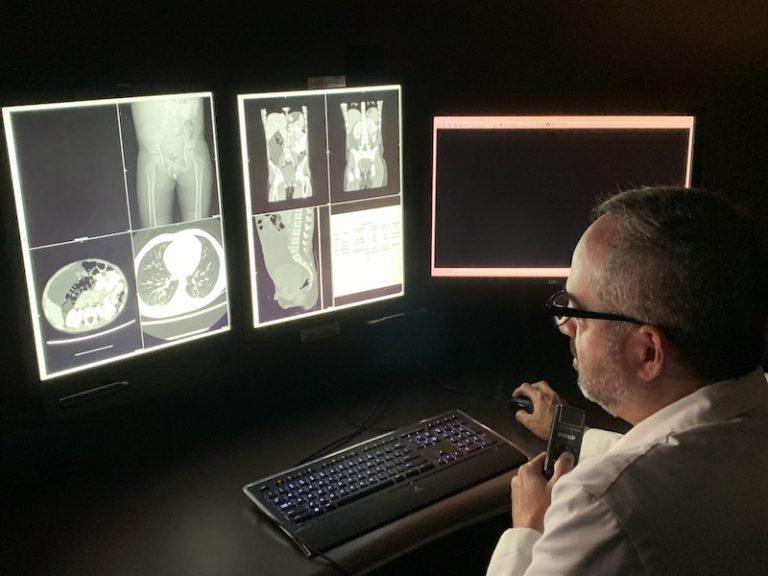 Radiologist reads a pediatric image